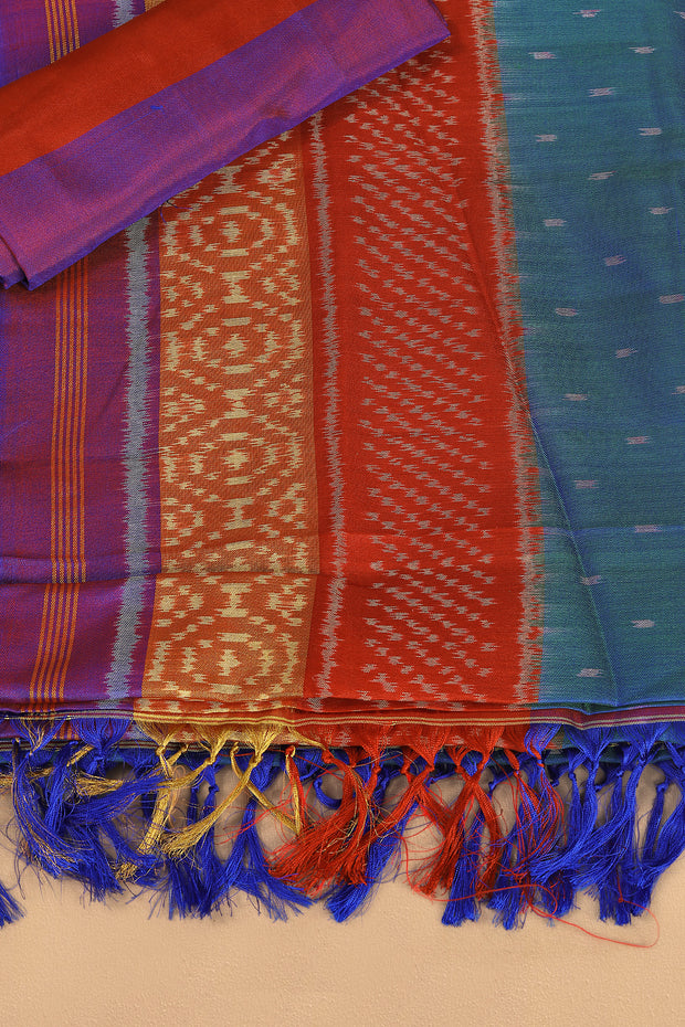 SIGNORAA BLUE RAJKOT PATOLA SILK SAREE-RPT00721- Product View