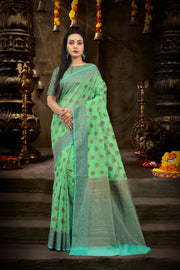 SIGNORAA SEA GREEN BANARASI SILK COTTON SAREE-BSK07900 - View 1