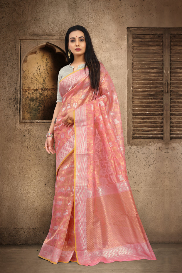 SIGNORAA PEACH KOTA TISSUE SAREE-KTJ03355 -VIEW 1