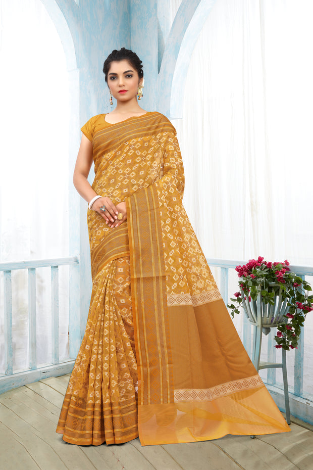 SIGNORAA MUSTARD FANCY BANARAS COTTON SAREE-FCT08676 - View 1