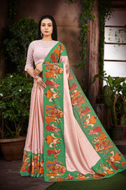 SIGNORAA BABY PINK SATIN SILK SAREE-EMB02965 -VIEW 1