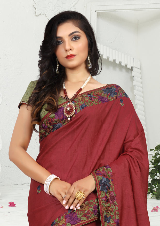 SIGNORAA RED TUSSAR SILK SAREE-EMB02840 -VIEW 2