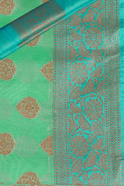SIGNORAA SEA GREEN BANARASI SILK COTTON SAREE-BSK07900 - Product View