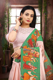 SIGNORAA BABY PINK SATIN SILK SAREE-EMB02965 -VIEW 2