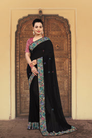 SIGNORAA BLACK GEORGETTE SILK SAREE-EMB02553 -VIEW 1