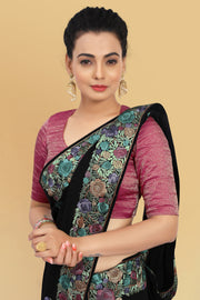 SIGNORAA BLACK GEORGETTE SILK SAREE-EMB02553 -VIEW 2