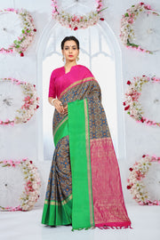 SIGNORAA BLUE PRINTED SILK SAREE-PTS04375 - VIEW 1