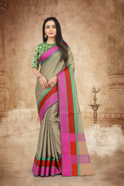 SIGNORAA BEIGE FANCY KORA COTTON SAREE-FCT08830B - View 1