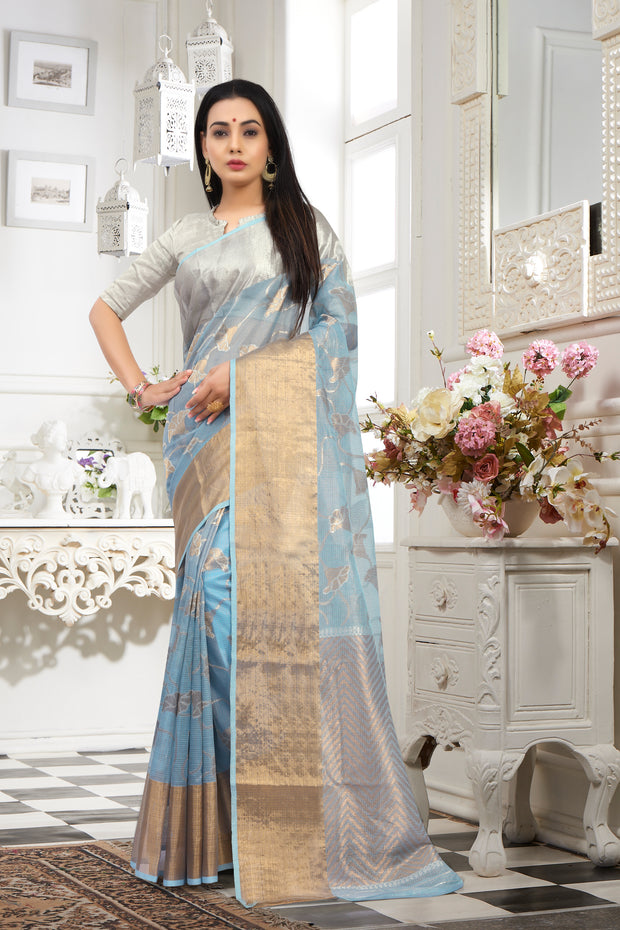 SIGNORAA PALE BLUE KOTA TISSUE SAREE-KTJ02163 - VIEW 1