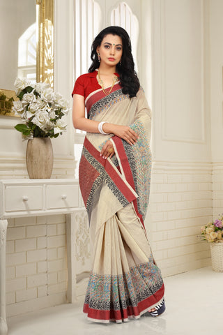 SIGNORAA BEIGE FANCY JUTE COTTON SAREE-FCT08683 - View 1