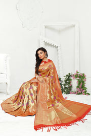 SIGNORAA RED PAITHANI SEMI SILK SAREE-PTN00131- VIEW 1