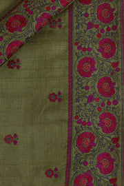 SIGNORAA MILITARY GREEN TUSSAR SILK SAREE-EMB02915 -PRODUCT VIEW