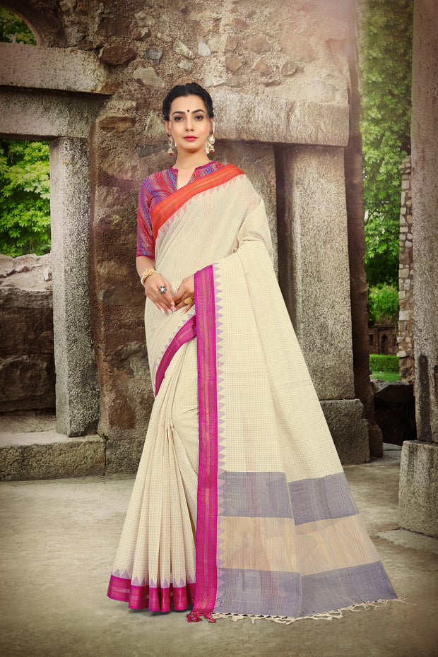 SIGNORAA CREAM UPPADA KHADI COTTON SAREE-OPD01477- View 1