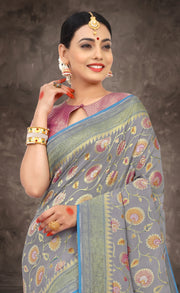 SIGNORAA GREY BANARASI GEORGETTE SILK SAREE-CHG03434 - VIEW 2
