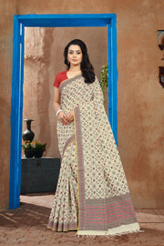 SIGNORAA OFF-WHITE BANARASI MERCERISED COTTTON SAREE-BSK07633 - View 1