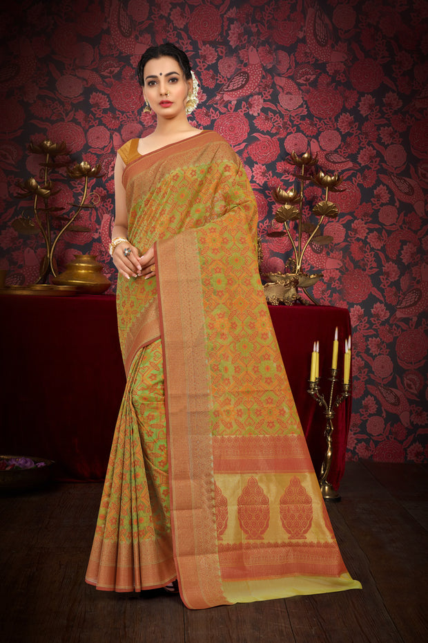 SIGNORAA GREEN FANCY BANARAS COTTON SAREE-FCT08445 - View 1