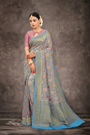 SIGNORAA GREY BANARASI GEORGETTE SILK SAREE-CHG03434 - VIEW 1