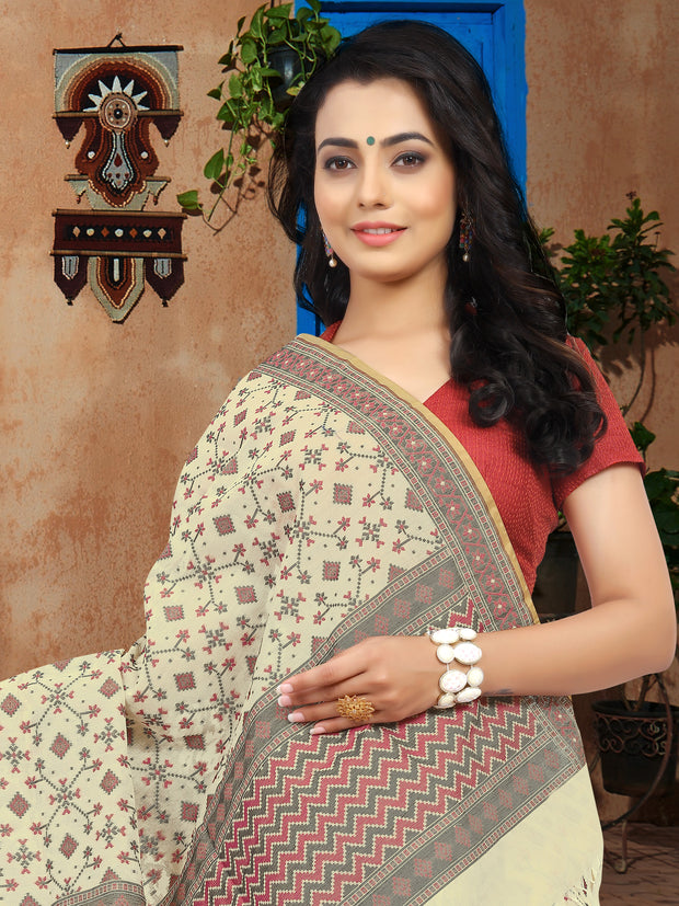 SIGNORAA OFF-WHITE BANARASI MERCERISED COTTTON SAREE-BSK07633- View 2