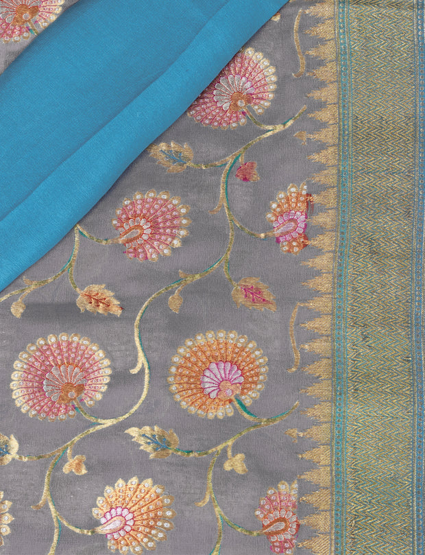 SIGNORAA GREY BANARASI GEORGETTE SILK SAREE-CHG03434 - PRODUCT VIEW