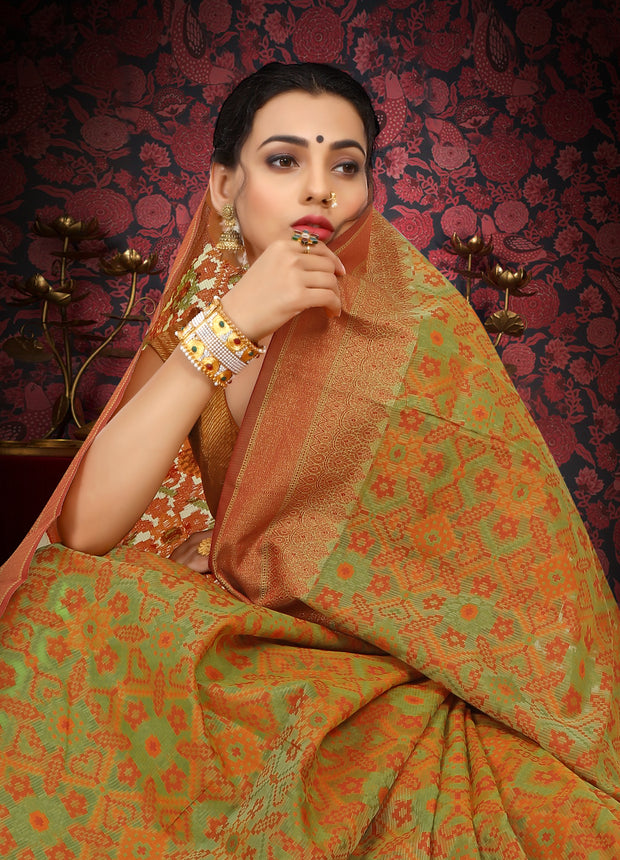 SIGNORAA GREEN FANCY BANARAS COTTON SAREE-FCT08445 - View 2
