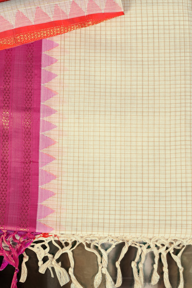 SIGNORAA CREAM UPPADA KHADI COTTON SAREE-OPD01477- Product View