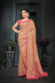 SIGNORAA PEACH BANARASI GEORGETTE SILK SAREE-CHG03433 - VIEW 1
