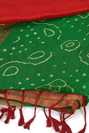 SIGNORAA BOTTLE GREEN BANDHANI SILK SAREE-BNI00921 - Product View