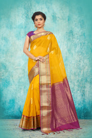 SIGNORAA MANGO YELLOW KANCHIPURAM KORA SILK SAREE-KSL02501 - View 1