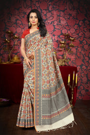 SIGNORAA CREAM BANARASI MERCERISED COTTON SAREE-BSK07666 - View 1