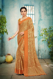SIGNORAA RUST TISSUE GEORGETTE SAREE-CHG03455 - VIEW 1
