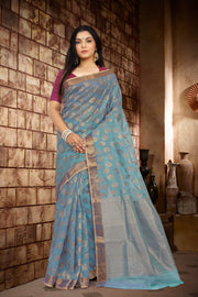 SIGNORAA BLUE KOTA SAREE-KTJ03097 - VIEW 1