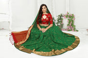 SIGNORAA BOTTLE GREEN BANDHANI SILK SAREE-BNI00921 - View 1