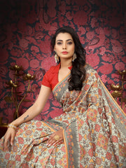 SIGNORAA CREAM BANARASI MERCERISED COTTON SAREE-BSK07666-View 2