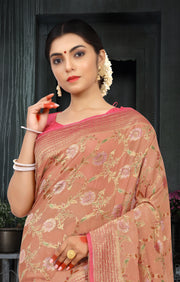 SIGNORAA PEACH BANARASI GEORGETTE SILK SAREE-CHG03433 - VIEW 2