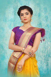 SIGNORAA MANGO YELLOW KANCHIPURAM KORA SILK SAREE-KSL02501 - View 2