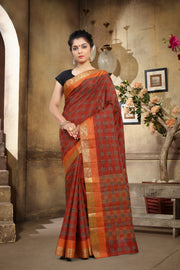 SIGNORAA RED DAILY WEAR SEMI TUSSAR SAREE-SASYN05871A- View 1