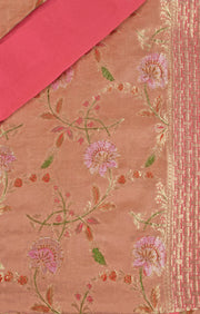 SIGNORAA PEACH BANARASI GEORGETTE SILK SAREE-CHG03433 - PRODUCT VIEW
