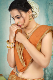 SIGNORAA RUST TISSUE GEORGETTE SAREE-CHG03455 - VIEW 2