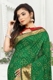 SIGNORAA BOTTLE GREEN BANDHANI SILK SAREE-BNI00921 - View 2