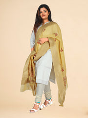 Signoraa Light Yellow Banarasi Georgette Silk Dupatta-PDU01008- View 1