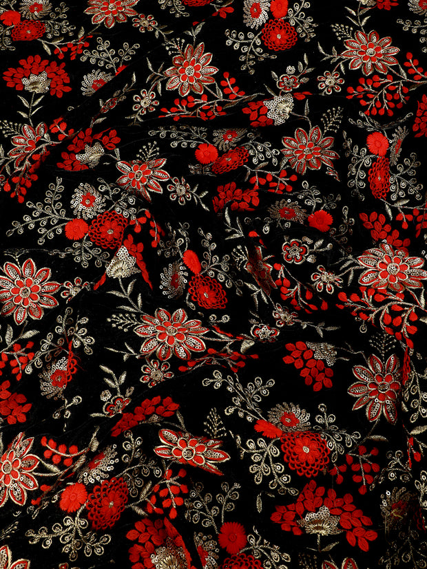 Signoraa Black Velvet Unstitched Fabric-PMT010382- View 1