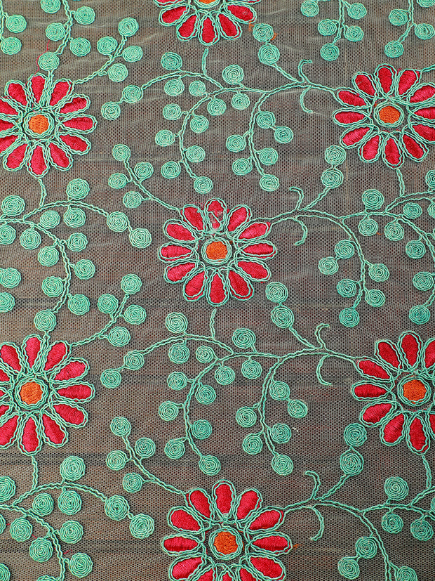 Signoraa Green Net Unstitched Fabric-PMT05059 - View 3