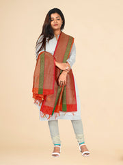 Signoraa Orange Banarasi Silk Dupatta-PDU01167 C- View 1