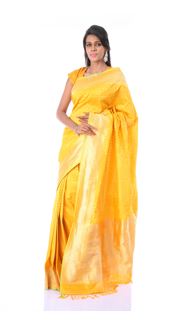 SIGNORAA YELLOW BANARASI GEORGETTE SILK SAREE-BSK04989 - View 1