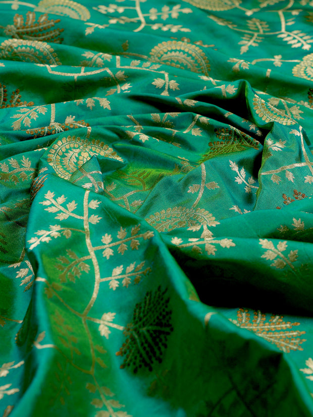 Signoraa Sea Green Banarasi Silk Unstitched Fabric-PMT010908 B-View 2