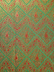 Signoraa Sea Green Banarasi Silk Unstitched Fabric-PMT011615- View 3