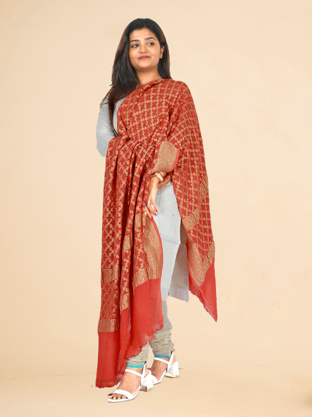Signoraa Orange Banarasi Georgette Dupatta-PDU00981A- View 1