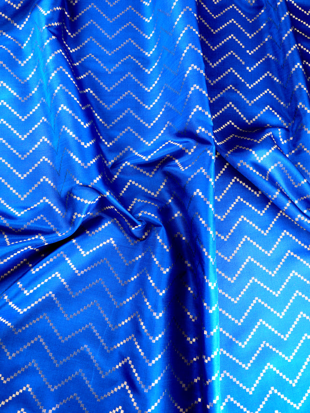 Singoraa Blue Banarasi Pure Silk Unstitched Fabric-PMT011691-View 2