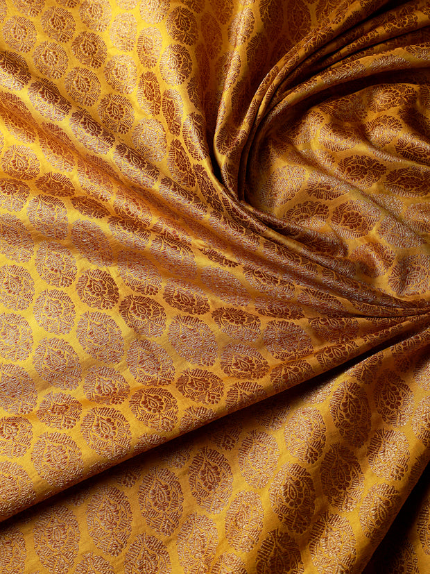 Signoraa Yellow Banarasi Silk Unstitched Fabric-PMT011381- View 2