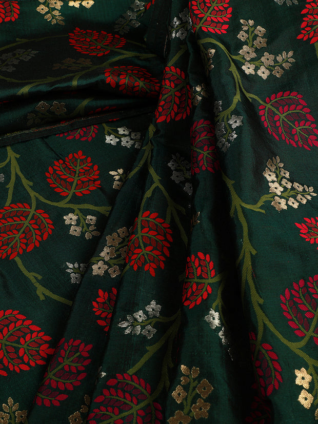 Signoraa Bottle Green Banarasi Silk Unstitched Fabric-PMT010908 A- View 1